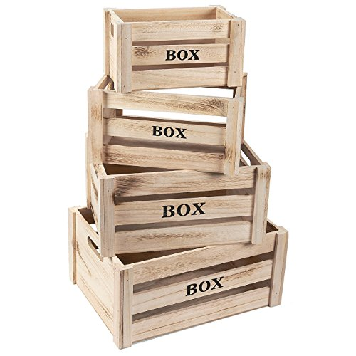 Cheap  Wooden Crate - 4-Count Rustic Decorative Storage Caddy Set, Unfinished Wood Craft..