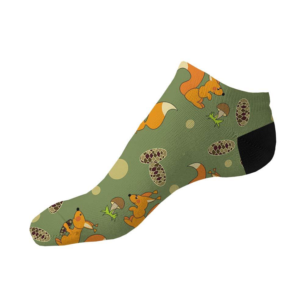 Playful Squirrels On Green Pattern Men-Women Adult Ankle Socks