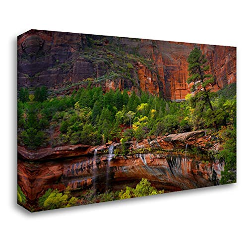Waterfalls at Emerald Pools, Zion National Park, Utah 37x28 Gallery Wrapped Stretched Canvas Art by Fitzharris, Tim ()