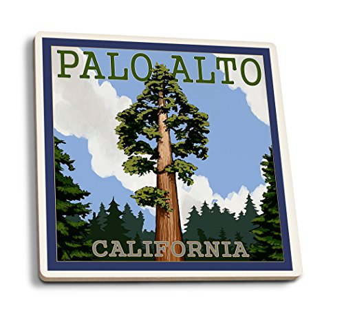 Lantern Press Palo Alto, California - California Redwoods (Set of 4 Ceramic Coasters - Cork-Backed, Absorbent) (Coaster Francisco San Giants)