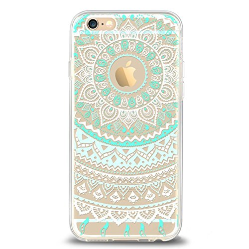 iPhone 6 6s Case,by Ailun,Solid Acrylic Back&Reinforced Soft TPU Frame,Ultra-Slim,Shock-Absorption Bumper,Anti-Scratch&Fingerprint&Oil Stain Back Cover[Mandala MintGreen]