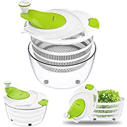 Salad Spinner Dryer,LOVKITCHEN Vegetables & Fruits Dryer with Large 4 Quarts & Quick Dry Design BPA,Ease for Tastier Salads and Faster Food Prep