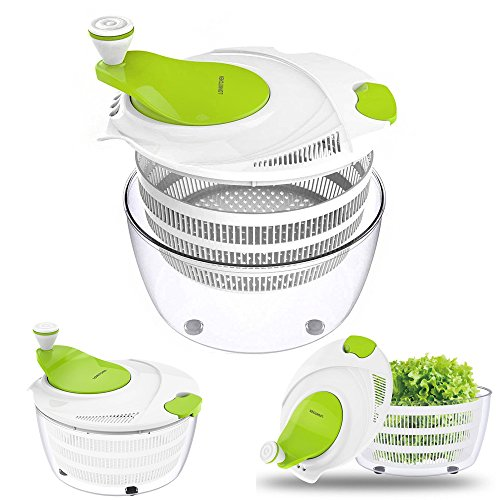 Salad Spinner Dryer,LOVKITCHEN Vegetables & Fruits Dryer with Large 4 Quarts & Quick Dry Design BPA,Ease for Tastier Salads and Faster Food Prep by Lovkitchen