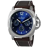 Peugeot Men's Silver Multi-Function Analog-Quartz Sport Watch with Leather Calfskin Strap, Brown, 24 (Model: 2056SBL)