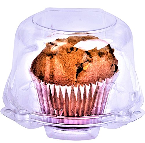 Green Direct Muffin/Jumbo Cupcake Boxes - Clear Plastic Dome Muffin Holder Single Compartment Pack of (Green Cupcake Holders)