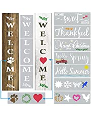 DLY LIFESTYLE Large Welcome Stencils for Wood Signs - Vertical Welcome Sign for Front Door and Outside Porch Decor - Farmhouse Letter Stencils and Templates for Painting on Wood, Walls & Home Decor