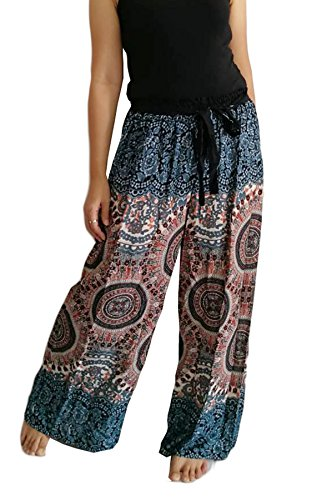 Comfy Pantsy Palazzo Pants for Women Peacock Harem Gypsy Hippie Boho Elastic Waist Tie Front Wide Leg Pants (Medium, Blue & Brown Print) (Hippie Tie Print)