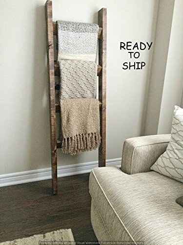Pipe and Wood Designs Rustic wood blanket ladder by Pipe and Wood Designs