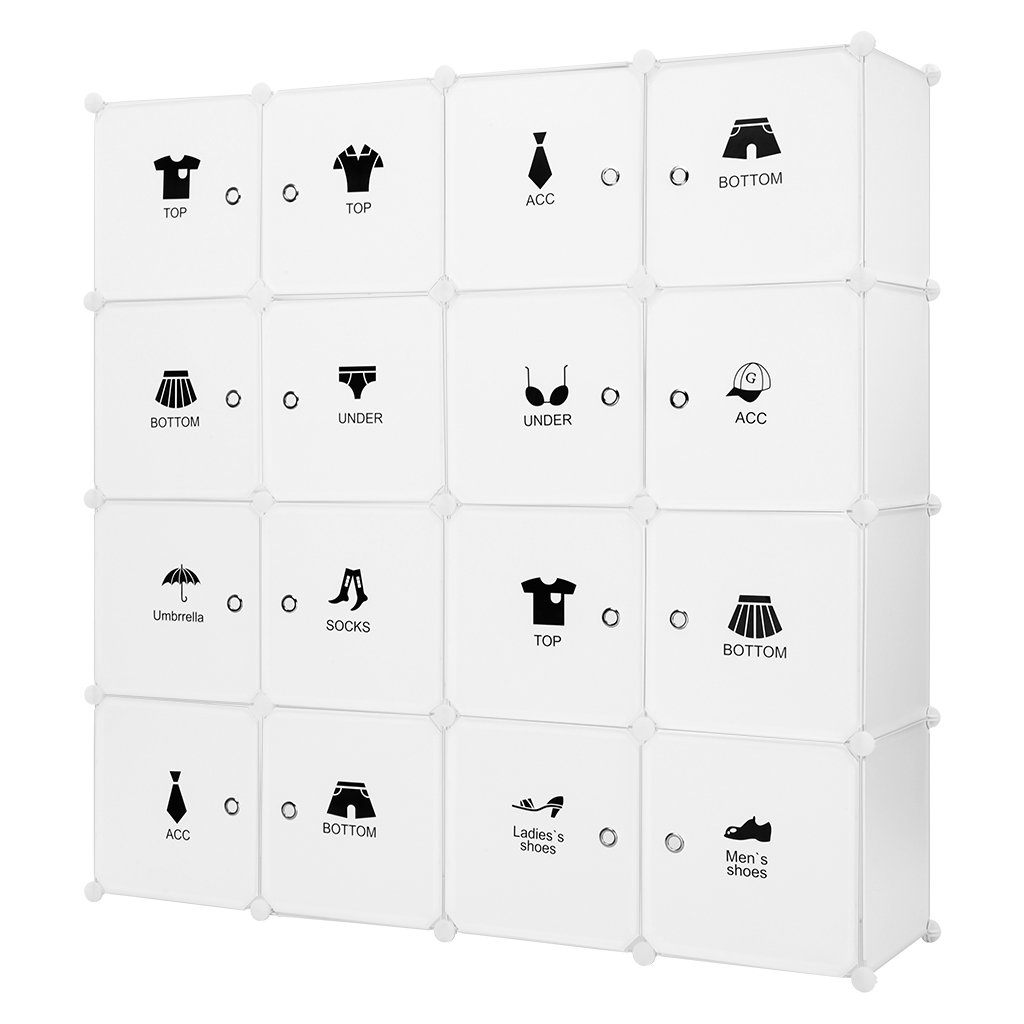 LANGRIA 16 Cube Storage Unit DIY Interlocking Wardrobe Cube Organiser 4 Columns 4 Tiers with 16 Doors, Closet Rod and Stickers for Clothes Shoes Toys, 147 * 37 * 147 CM, Milky White