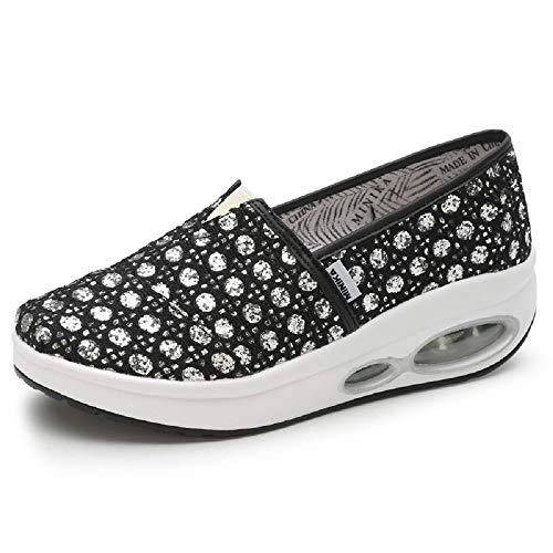 on Slip EU Negro de Qiusa Color Rocker Lona con Estampado de Trainers tamaño Mujer Zapatos Blanco Sole 37 pRwvqBS