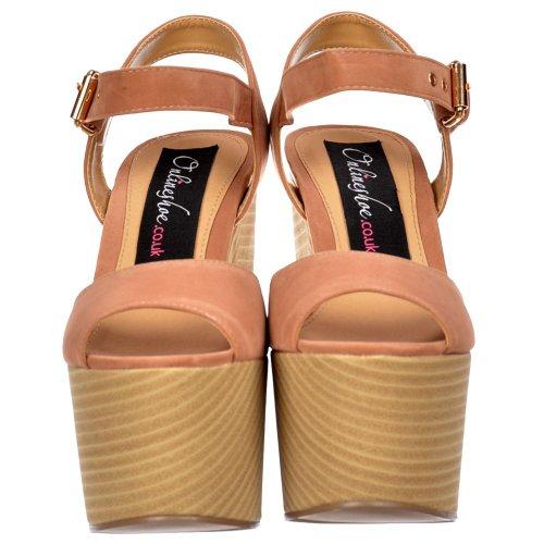 de Deux d'été Toe Nude des Nude Onlineshoe en Heels Demi Suede dames Peep tonalité bois Effet sandales Suede Wedge femmes bloc A7xqfZ6xw