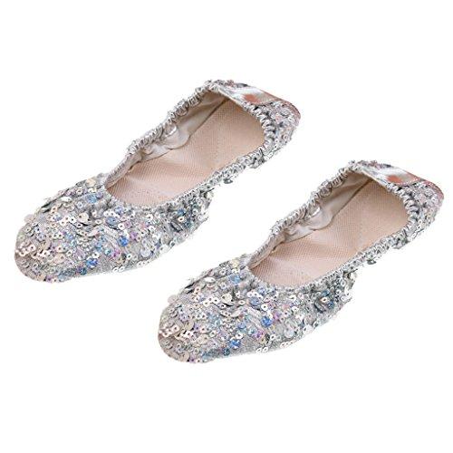Chaussons Danse L Chaussures Dance 2 Baoblaze XL Paires Belly Professionnel Argent aZxfwqE