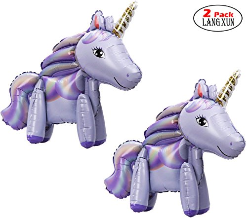 Langxun 2 Pack Purple Foil Unicorn Balloons for Unicorn Party Supplies and Girls Birthday Decorations, Birthday Party Supplies for Women