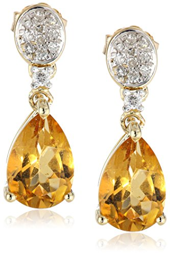-Shape Citrine and Diamond Drop Earrings (.13cttw, I-J Color, I2-I3 Clarity) (Citrine And Diamond Earrings)