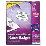 Averyamp;reg; Self-Adhesive Name Badge Labels, Border-Style, 2 1/3 x 3, Blue, 400 Per Box