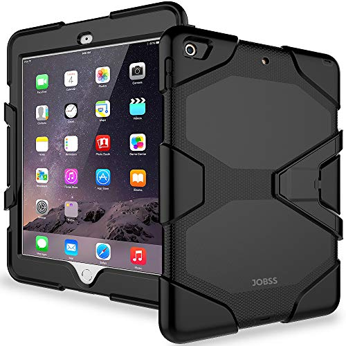 iPad 6th/5th Generation Case,iPad 9.7 Inch Case 2018/2017,Model(A1893/A1954/A1822/A1823),with Free Screen Protector,Heavy Duty Shockproof Hybrid Rugged Rubber Stand Case,Black