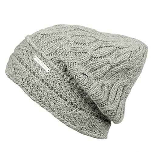 LUNA & TERRA - GENOVA Hat Beanie Hand Knitted 100% BABY ALPACA (Silver)