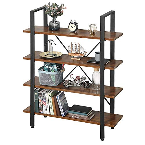 GreenForest 4 Shelf Bookshelf Industrial Bookcase with Rustic Wood and Metal Frame Open Wide Etagere for Home and Office Walnut
