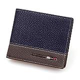 PU Leather Bifold Wallet,Hemlock Men Card Case Business Clutch Pockets Wallet (Blue)