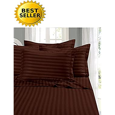 Elegant Comfort #1 Bed Sheet Set on Amazon - Super Silky Soft - 1500 Thread Count Egyptian Quality Luxurious Wrinkle, Fade, Stain Resistant 6-Piece STRIPE Bed Sheet Set, Queen Chocolate