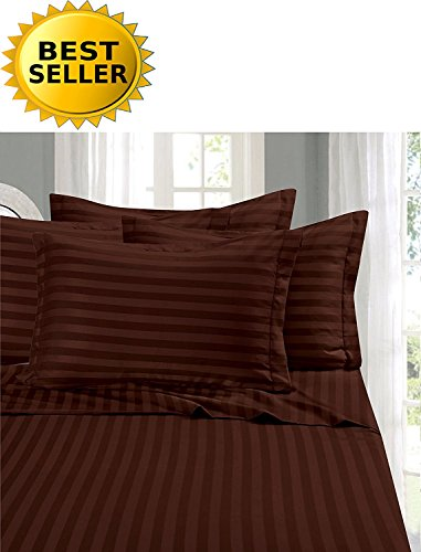 (Elegant Comfort #1 Bed Sheet Set on Amazon - Super Silky Soft - 1500 Thread Count Egyptian Quality Luxurious Wrinkle, Fade, Stain Resistant 6-Piece Stripe Bed Sheet Set, Queen Chocolate)