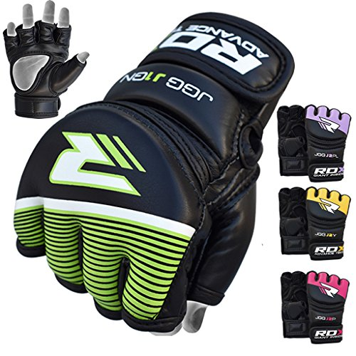 RDX Kids MMA Gloves Grappling Martial Arts Sparring Punching Bag Junior Cage Fighting Youth Maya Hide Leather Mitts Children Combat Training from RDX