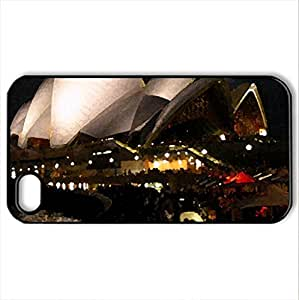 Opera House at Night - Case Cover for iPhone 4 and 4s (Monuments Series, Watercolor style, Black)