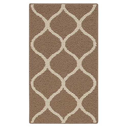 (Maples Rugs Kitchen Rug - Rebecca 1'8 x 2'10 Non Skid Small Accent Throw Rugs [Made in USA] for Entryway and Bedroom, Café Brown/White)