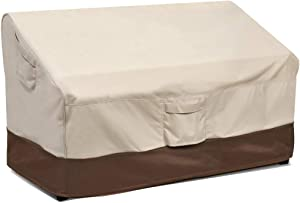 Vailge Heavy Duty Patio Bench Loveseat Cover,100% Waterproof Outdoor Sofa Cover, Lawn Patio Furniture Covers with Air Vent, Medium(Standard), Beige & Brown