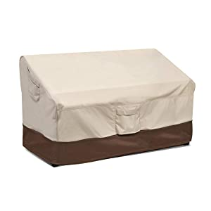 Vailge Heavy Duty Patio Bench Loveseat Cover, 100% Waterproof Outdoor Sofa Cover, Lawn Patio Furniture Covers with Air Vent, Small(Standard), Beige & Brown