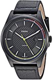 Fossil Men's 'Mathis' Quartz Stainless Steel and Leather Casual Watch, Color:Black (Model: FS5423)