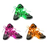 Dsaren 3 Pairs Glow LED Shoelaces Nylon Shoestrings with 4 Flashing Modes Light Up Shoe Laces for Adults Kids Dancing Running Hiking Skating Night Party (Green + Pink + Orange)