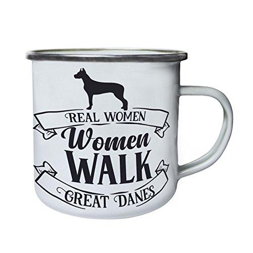 De vraies femmes marchent de grands Danois Rétro, étain, émail tasse 10oz/280ml bb781e