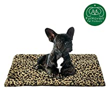 Furhaven Pet Dog Bed Heating Pad | ThermaNAP Quilted Faux Fur Insulated Thermal Self-Warming Pet Bed Pad for Dogs & Cats, Leopard Print