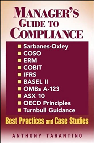 manager s guide to compliance sarbanes oxley coso erm cobit rh amazon com Contract Compliance Manager Compliance Manager Salary