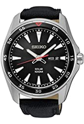 Seiko SNE399 Men's Core Black Leather Strap Band Black Dial Watch