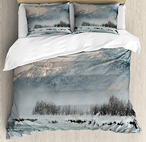 - YOLIKA Lightweight Microfiber Alaska Duvet Cover Set with Zipper Closure, Chilkat Valley Covered in Snow Winter Season Landscape Idyllic Scene from North Printed Bedding Collection Silver White, Twin