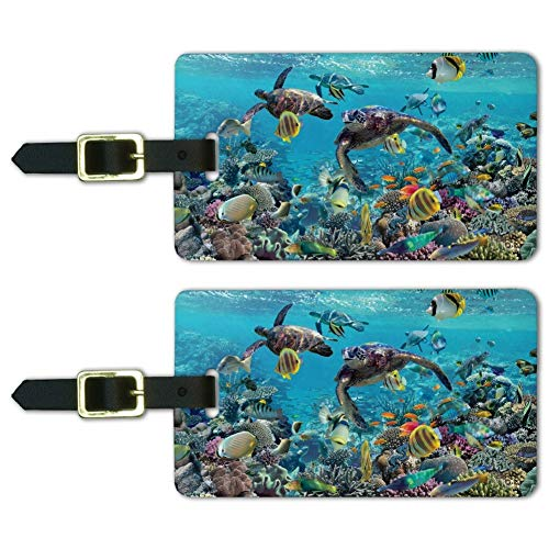 Ocean Coral Reef Sea Turtles Diving Luggage ID Tags Carry-On Cards - Set of 2