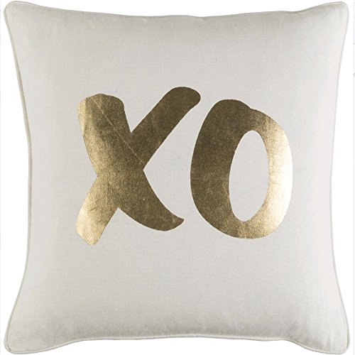 GD-D Home Cotton Square White And Gold Xo Printed Throw Pill