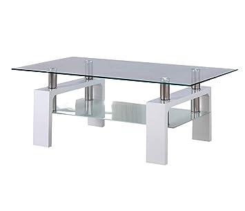 Cadentro Table Basse Blanche Laquee Avec Plateau En Verre Bianco
