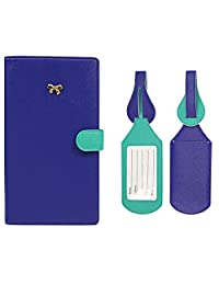 JAVOedge Two Tone Color Long RFID Blocking Passport Case with Pen Holder and 2 Matching Luggage Tags (Blue/Turquoise)
