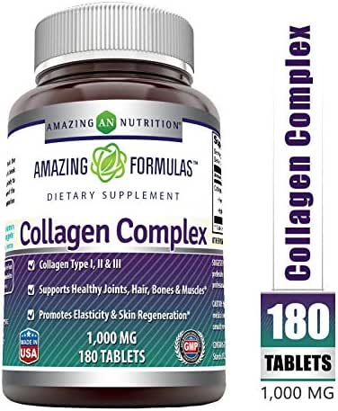 Amazing Formulas Collagen Complex Dietary Supplement-1000 Mg-180 Tablets (Non-GMO,Gluten Free) Promotes a Healthier Digestive System, Healthy Skin and Joints*