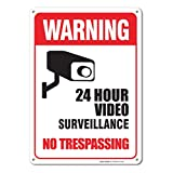 Sigo Signs 24 Hour Video Surveillance, No Trespassing Sign Legend, Aluminum