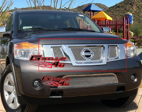 Fits 2008-2015 Nissan Armada Stainless Steel Mesh Grille Insert W/Logo #N76507T (Chrome Stainless Steel Mesh Grille)