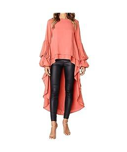 TEBAISE Herbst Oktoberfest Stil Frauen Unregelmäßige Rüschen Shirt Langarm Sweatshirt Pullover Tops Bluse Party Clubbing Tanzanzug Orange 46 DE/XL CN