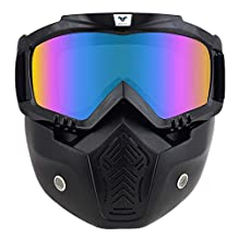 Woljay Motorcycle Riding Mask Harley Style with Goggles for 3/4 Open Face Motorcycle Helmet - Matte Black Revo Lens