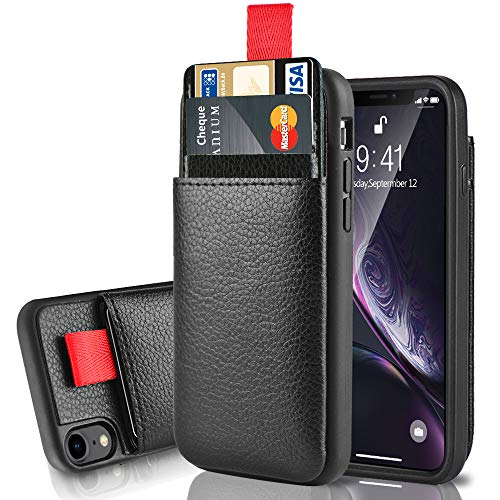 LAMEEKU Wallet Case for Apple iPhone XR, 6.1-Inch, Protective Leather Cases with Credit Card Holder Slot Pocket, Shockproof TPU Bumper Phone Cover Compatible with iPhone XR 6.1