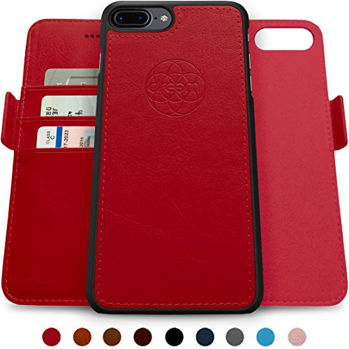 - Dreem Fibonacci 2-in-1 Wallet-Case for iPhone 8-Plus & 7-Plus, Magnetic Detachable Shock-Proof TPU Slim-Case, Wireless Charge, RFID Protection, 2-Way Stand, Luxury Vegan Leather, Gift-Box - Red