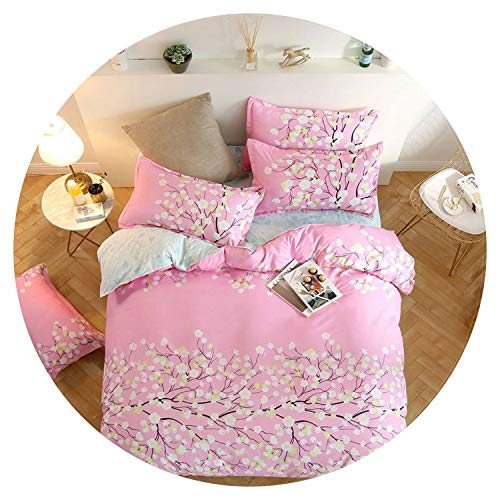 Colorful-Day Beddings Cartoon Moon Star 3D Girl Bed linens Single Queen King Size Beautiful Scenic Flower Duvet Cover 3/4pc Sweet Pink Bedding Set Grey,4,Twin Size 4pc
