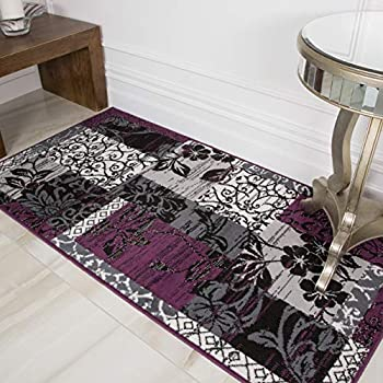 Amazon Com Milan Purple Black Amp Gray Patchwork Area Rug